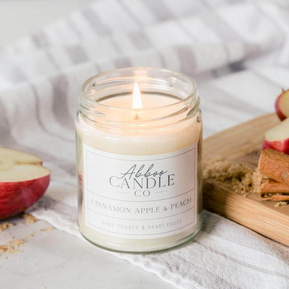 Cinnamon Apple & Peach Soy Candle by Abboo Candle Co|$15.99