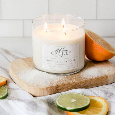 Exotic Citrus & Sugar 3-Wick Soy Candle by Abboo Candle Co|$34.49
