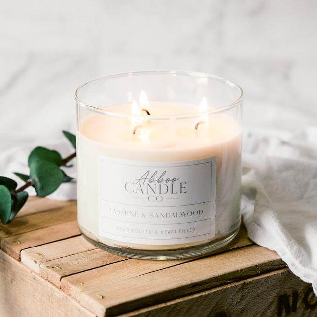 Jasmine & Sandalwood 3-Wick Soy Candle by Abboo Candle Co|$34.49