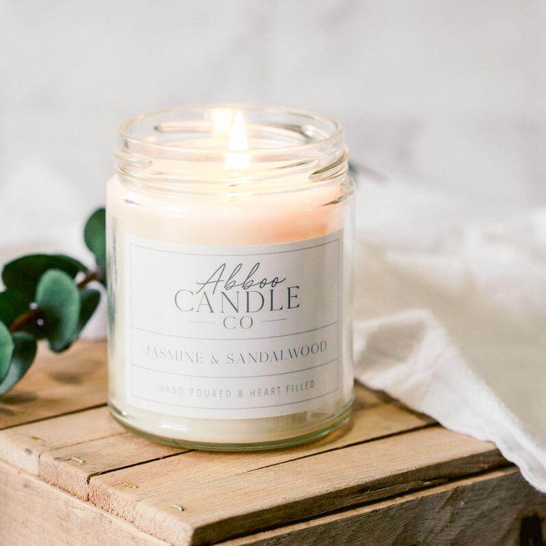 Jasmine & Sandalwood Soy Candle by Abboo Candle Co|$15.99