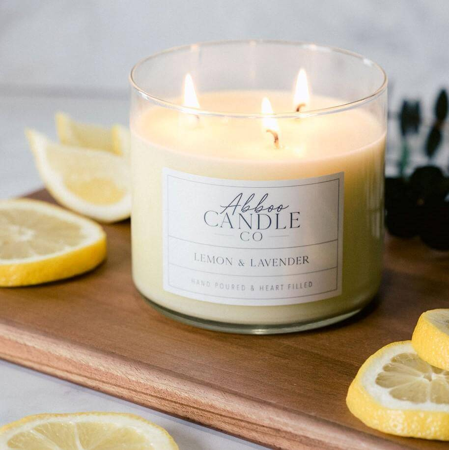 Lemon & Lavender 3-Wick Soy Candle by Abboo Candle Co|$34.49