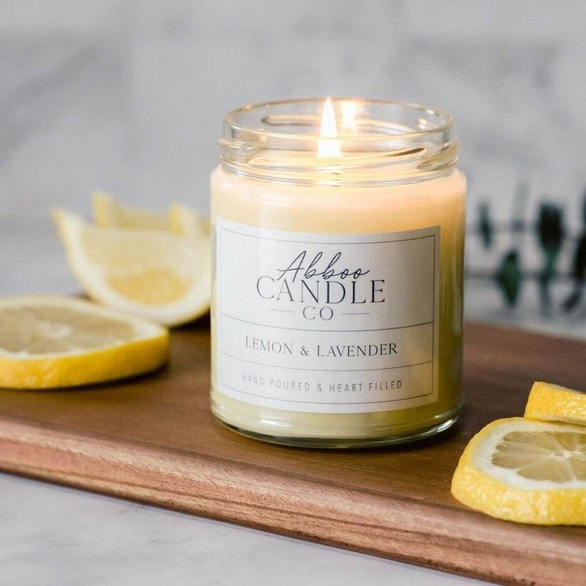 Lemon & Lavender Soy Candle by Abboo Candle Co|$15.99
