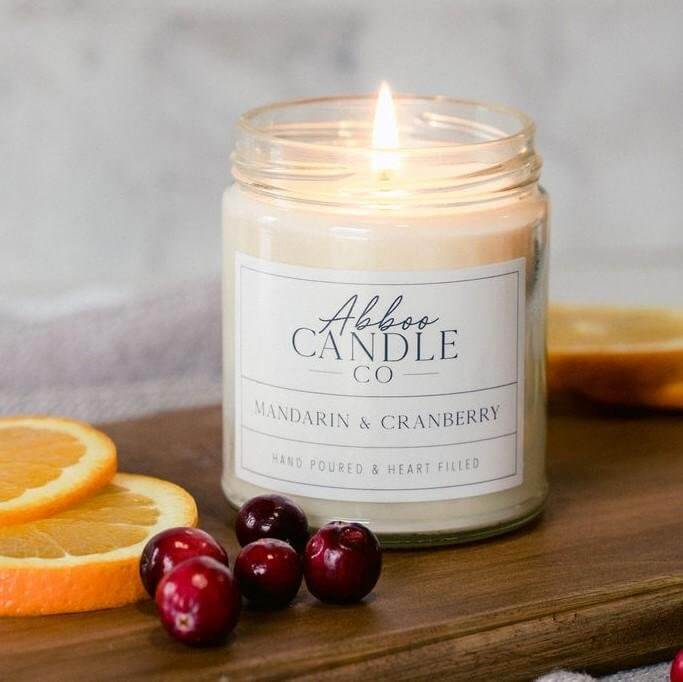 Mandarin & Cranberry Soy Candle by Abboo Candle Co|$15.99