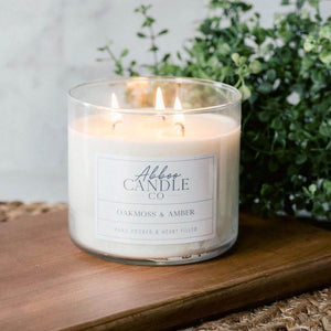 Oakmoss & Amber 3-Wick Soy Candle by Abboo Candle Co|$34.49