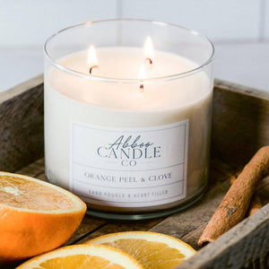 Orange Peel & Clove 3-Wick Soy Candle by Abboo Candle Co|$34.49