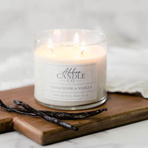 Sandalwood & Vanilla 3-Wick Soy Candle by Abboo Candle Co|$34.49