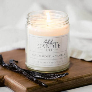Sandalwood & Vanilla Soy Candle by Abboo Candle Co|$15.99