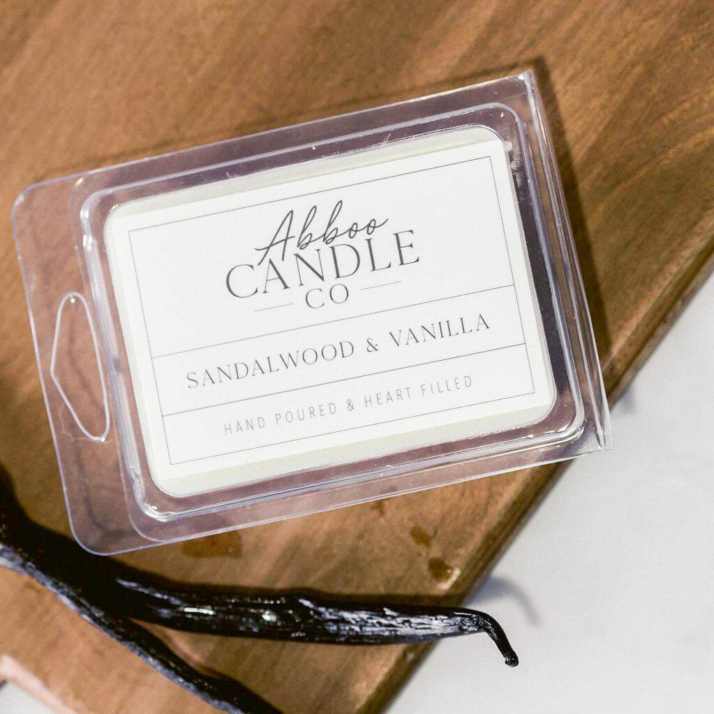 Sandalwood & Vanilla Soy Wax Melts by Abboo Candle Co|$6.49