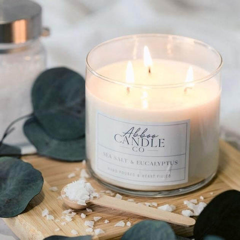 Sea Salt & Eucalyptus 3-Wick Soy Candle by Abboo Candle Co|$34.49