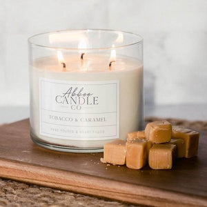 Tobacco & Caramel 3-Wick Soy Candle by Abboo Candle Co|$34.49