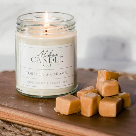 Tobacco & Caramel Soy Candle by Abboo Candle Co|$15.99