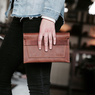 The Moriah Fine Leather Clutch With Insert