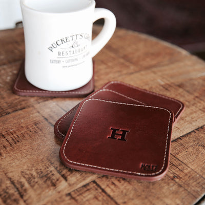 The Ranch House Personalized Fine Leather Coaster Set of 4 Coasters