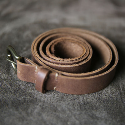 Fine Leather Womens Belt – Rounded Brass Buckle