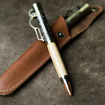 The Cowboy Lever Action Hand-turned Whiskey Barrel Pen + Personalized Pen Sleeve