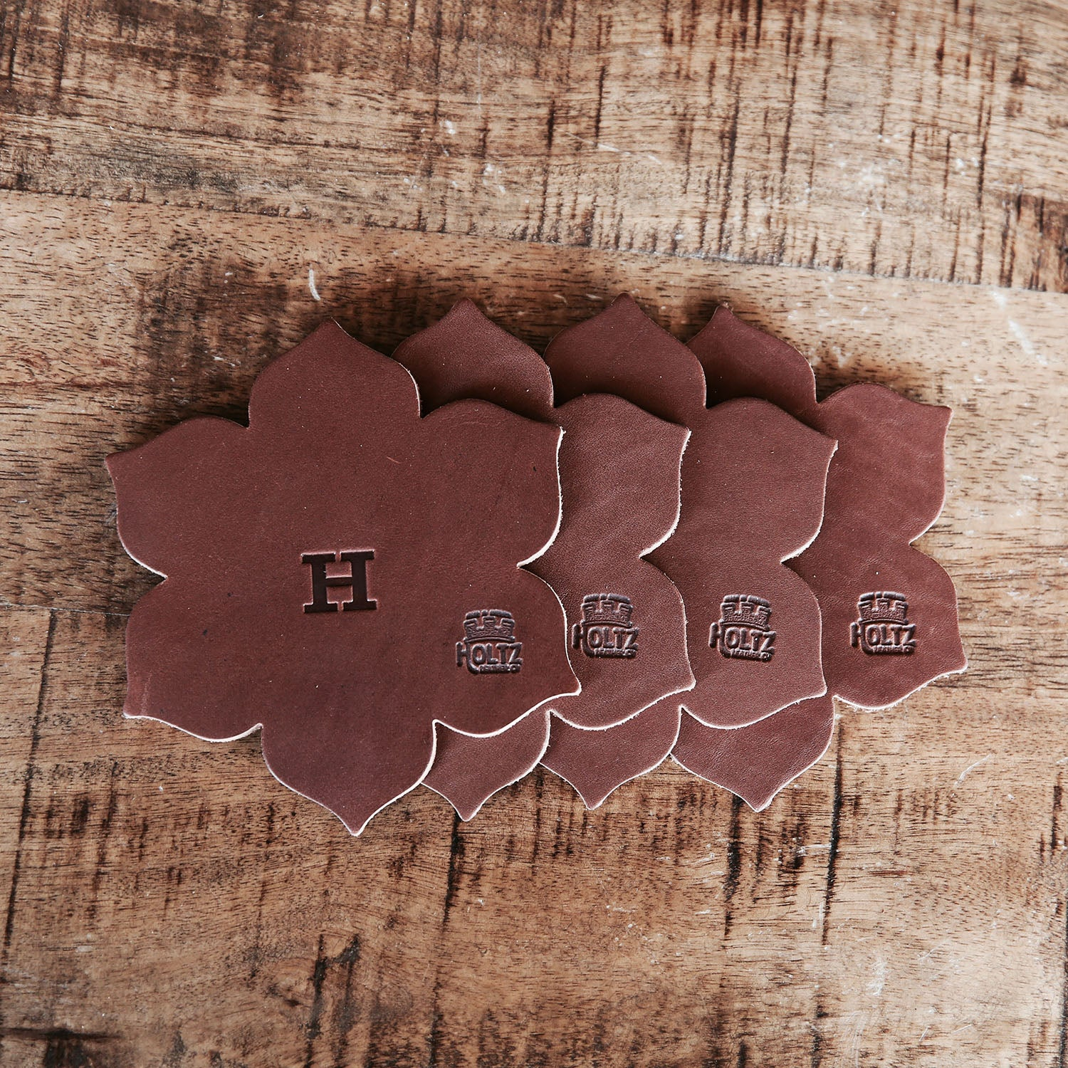 The Magnolia Flower Personalized Fine Leather Coaster Set Of 4
