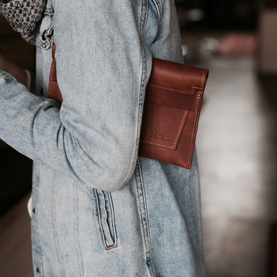 The Moriah Fine Leather Clutch With Optional Insert