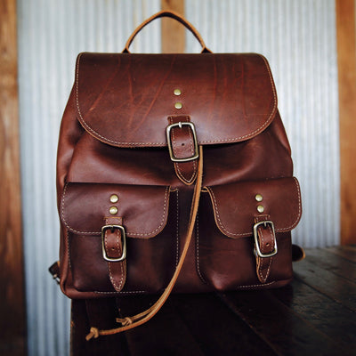 The Emerson Pack Fine Leather Backpack Purse in Brown