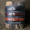 Personalized Fine Leather Men's Casual Belt – Square Nickel or Brass Buckle