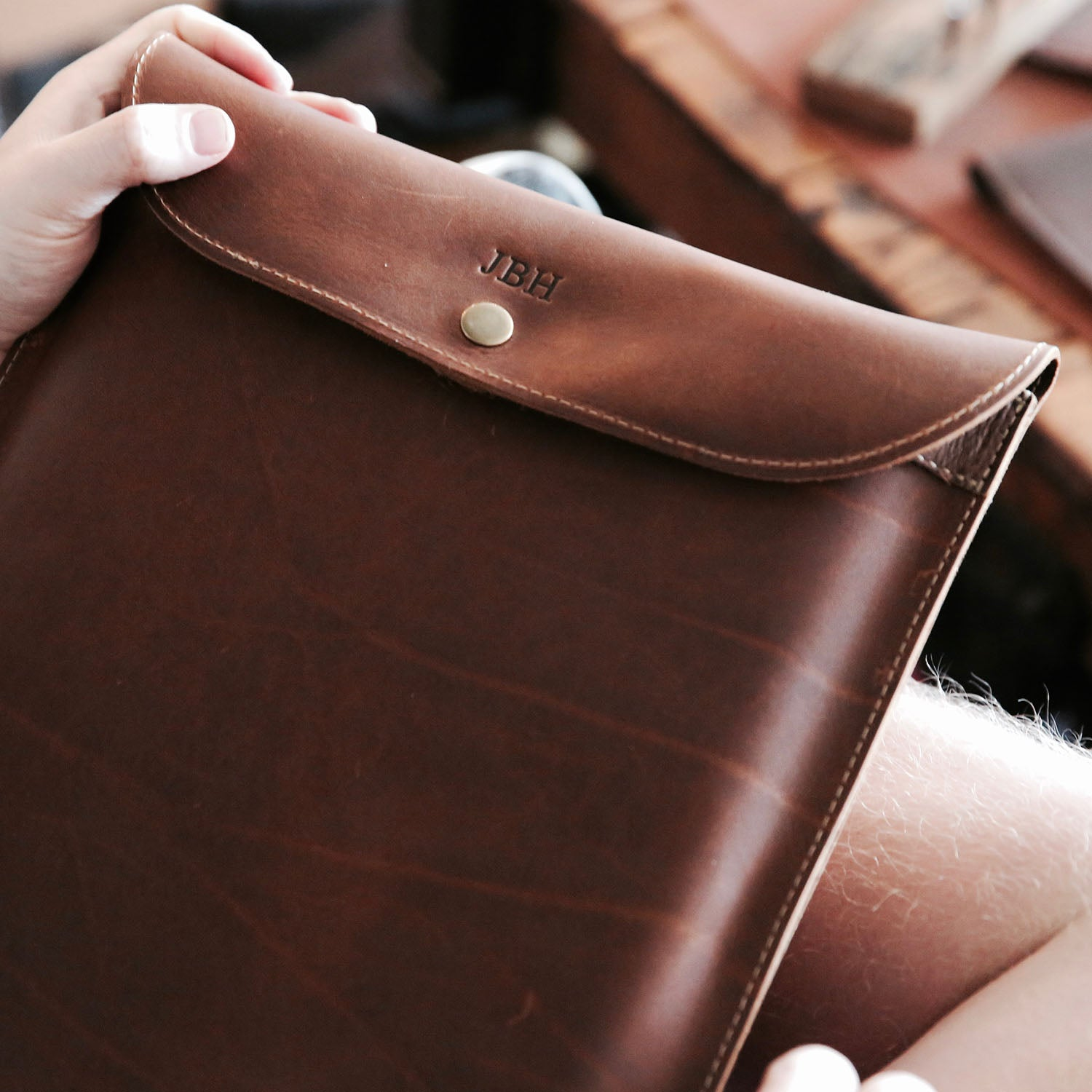 "Fine Leather Sleeve Case for Apple Macbook 12"" & Macbook Air 11"""