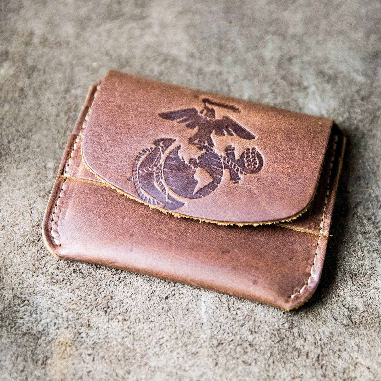 The Officially Licensed Marine Corps Fine Leather Front Pocket Wallet with Flap Closure
