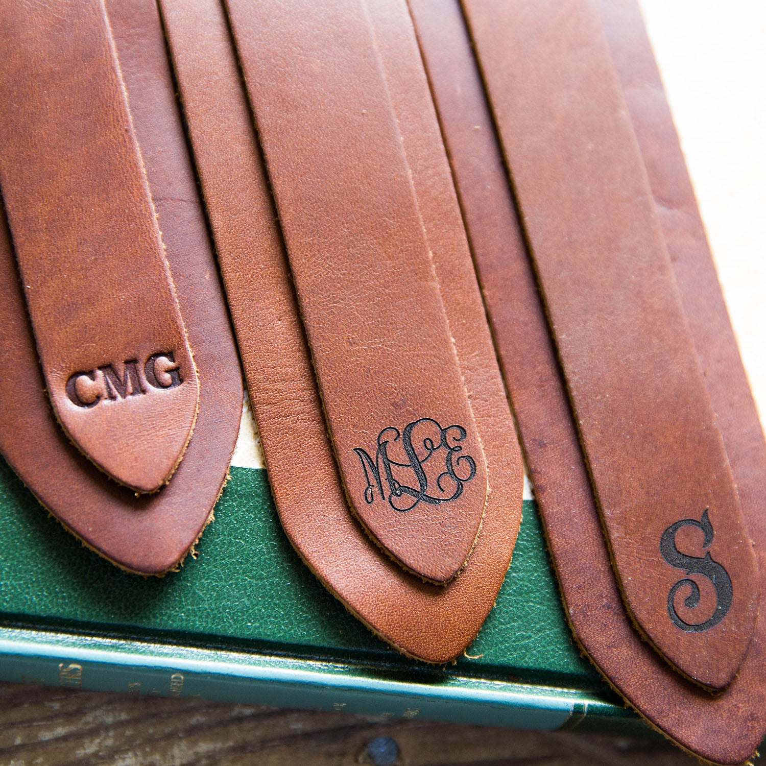 Set of 3 Personalized Fine Leather Double Bookmarks