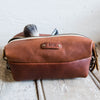 The Dopp Bag - Personalized Brown Fine Leather Shave Toiletry Bag Travel Bag With Zipper