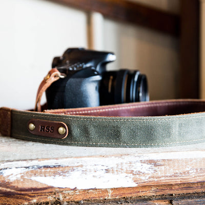 The Nomad Personalized Fine Leather & Canvas Camera Strap in Forest Green