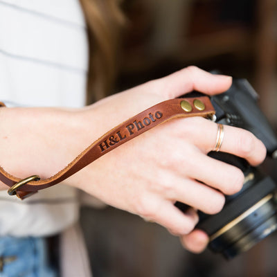The Film Strap Personalized Leather Camera Wrist Strap