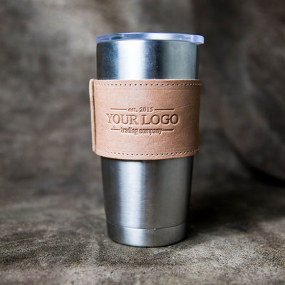 The Rocket City 20oz Custom Logo Wrap for Yeti Rambler Tumbler Leather Wrap With Handle Put Your Logo On It Corporate