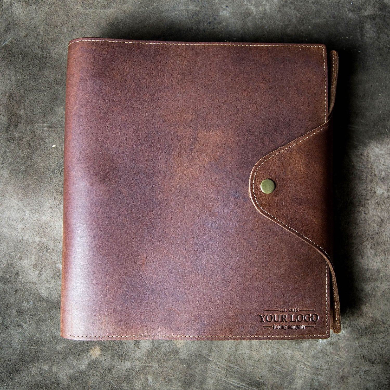 The Langley – Custom Logo Fine Leather 3 Ring Binder Notebook Photo Album Put Your Logo On It Corporate