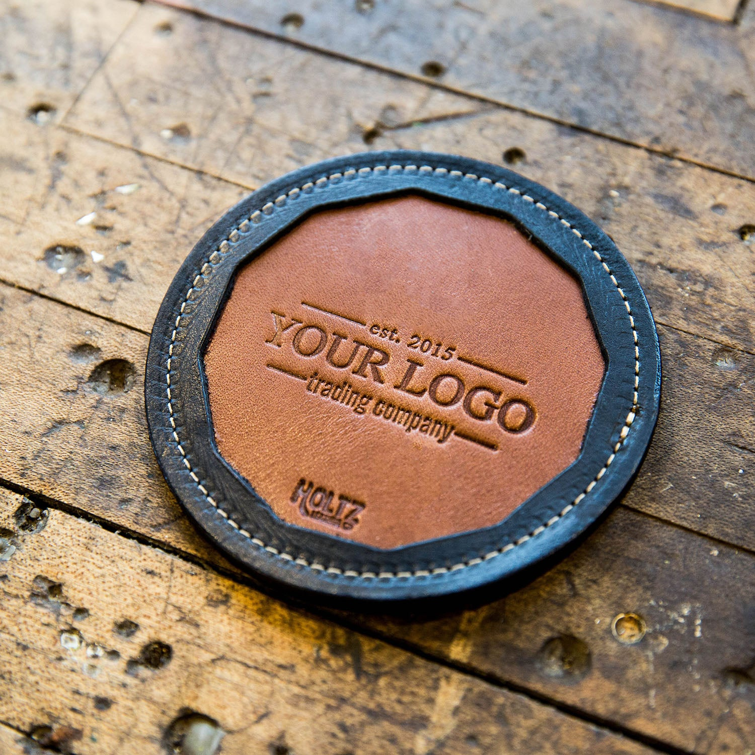The Tavern Custom Logo Fine Leather Coaster Set of 4 Coasters Put Your Logo On It Corporate