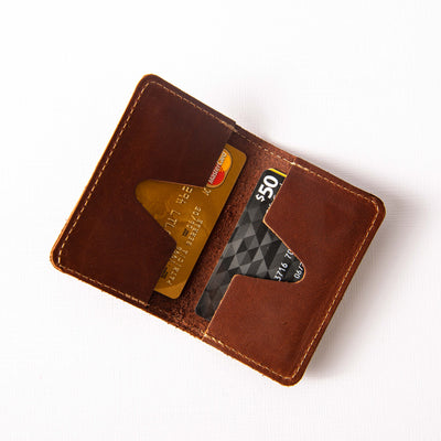 The Vincent Custom Logo Fine Leather Business Card Holder Wallet BiFold Put Your Logo on it Corporate