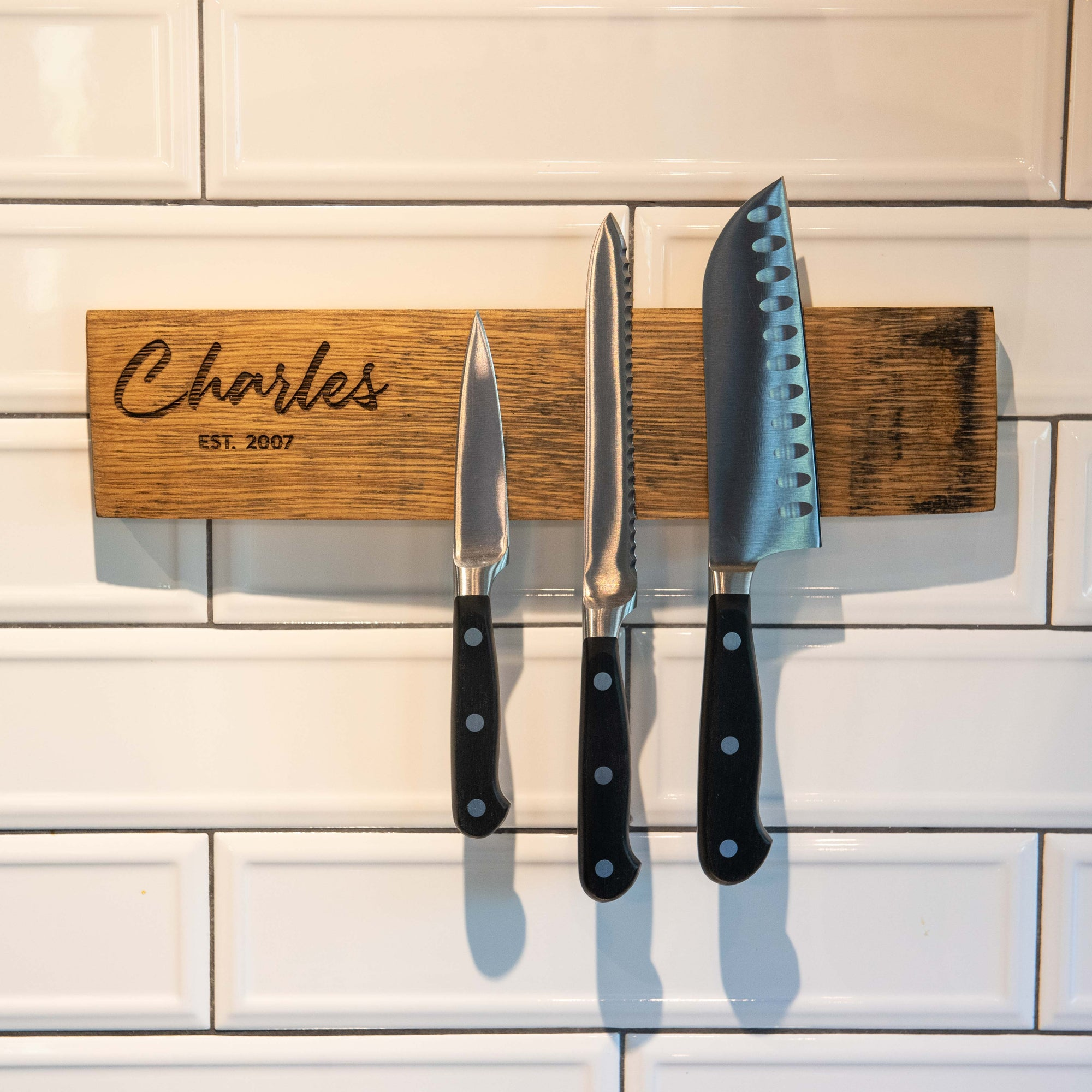 Personalized Tennessee Whiskey Barrel Magnetic Knife Block Rack