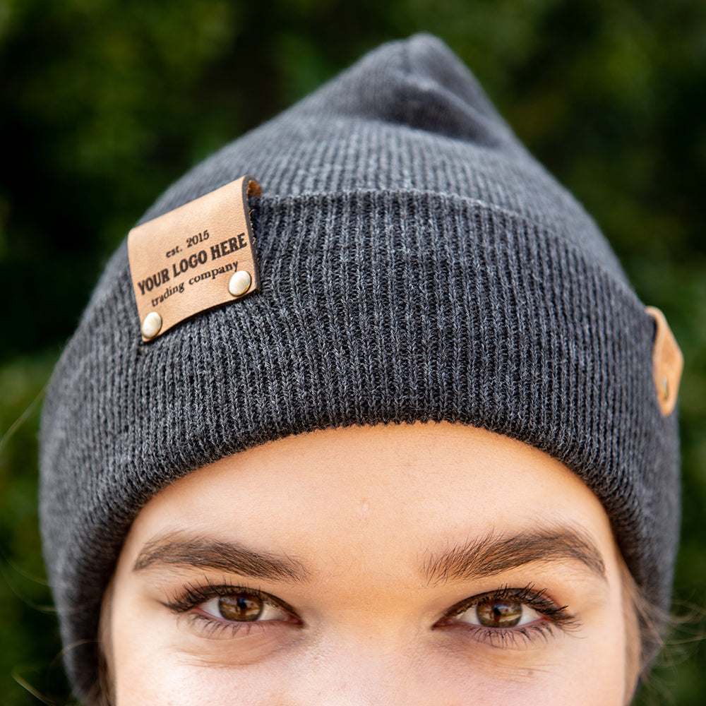 Custom Leather Patch Heathered Beanie Toboggan Hat With Your Logo