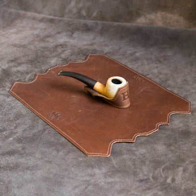 "The ""Professor"" Personalized Fine Leather Pipe Smoking Mat & Pipe Boat Holder"