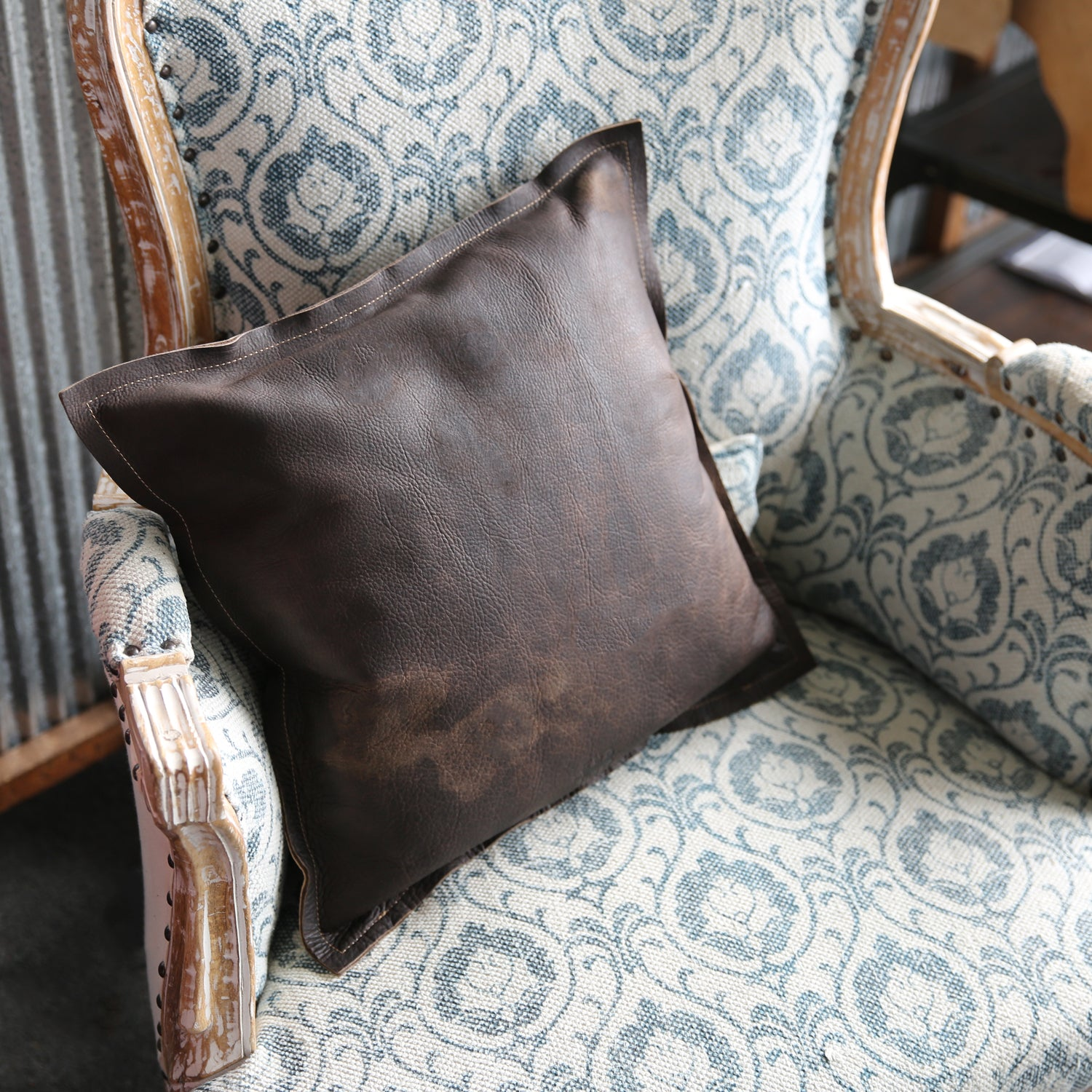 Bison Are Ready For Thanksgiving >> The Adelaide Rough And Ready American Bison Leather Pillow