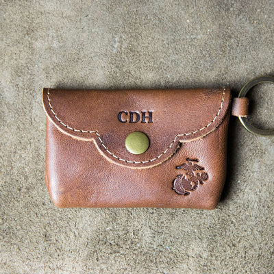 The Officially Licensed Marine Corps Rosie Fine Leather Scallop Keychain Wallet