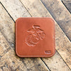 The Officially Licensed Marine Corps Ranch House Fine Leather Coaster Set of 4 Coasters