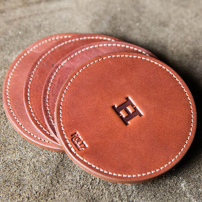 The Farm House Circle Personalized Fine Leather Coaster Set of 4 Coasters