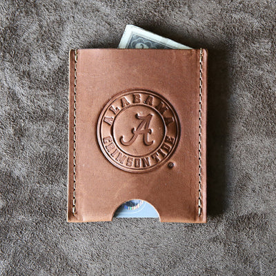 The Officially Licensed Crimson Tide Jefferson Personalized Fine Leather Card Holder Wallet