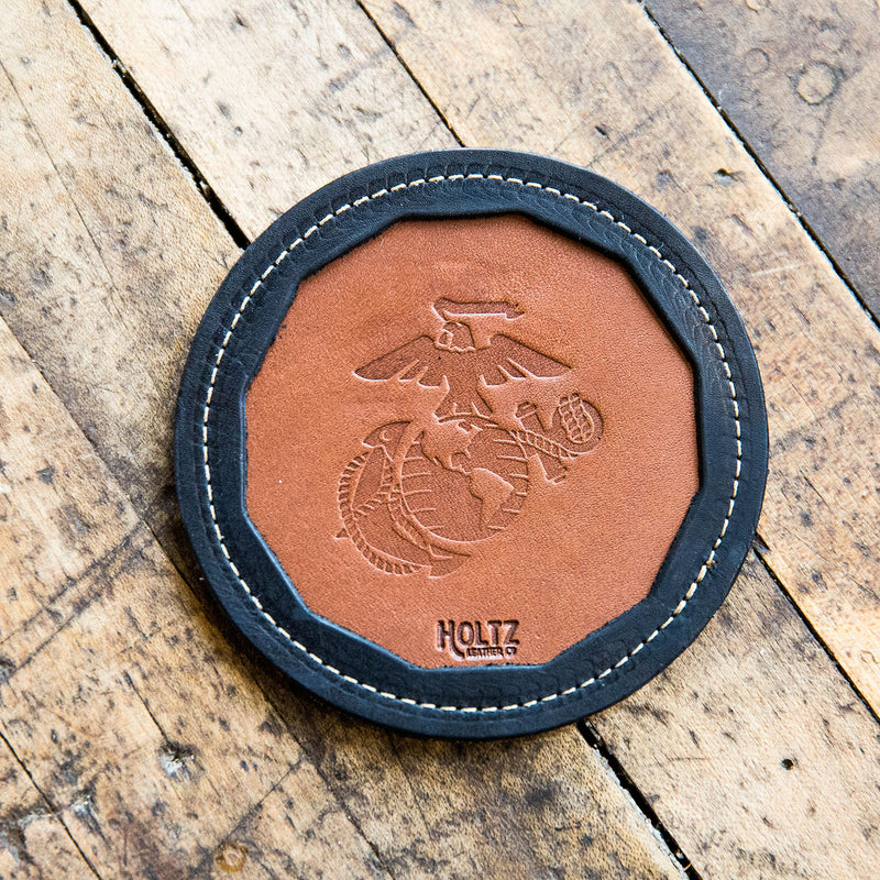 The Officially Licensed Marine Corps Tavern Fine Leather Coaster Set of 4 Coasters