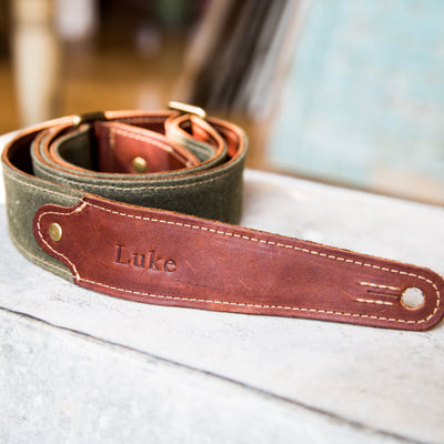 The Hill Fine Leather and Canvas Personalized Guitar Strap in Forest Green
