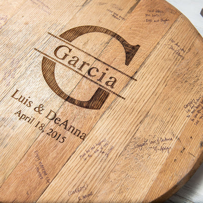 Personalized Tennessee Whiskey Barrel Head Wedding Guestbook Sign