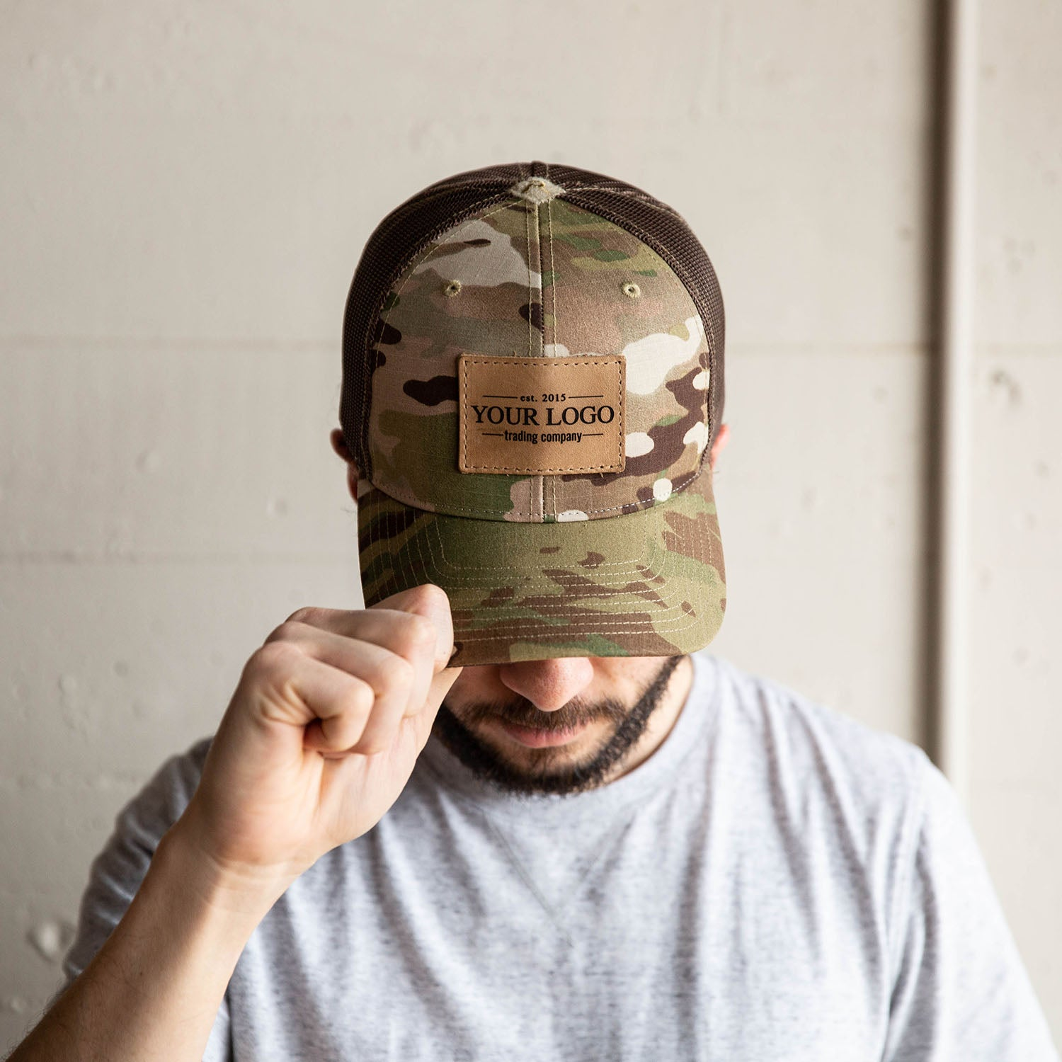 Custom Leather Patch CAMO Hat With YOUR Logo - Multicam Customized