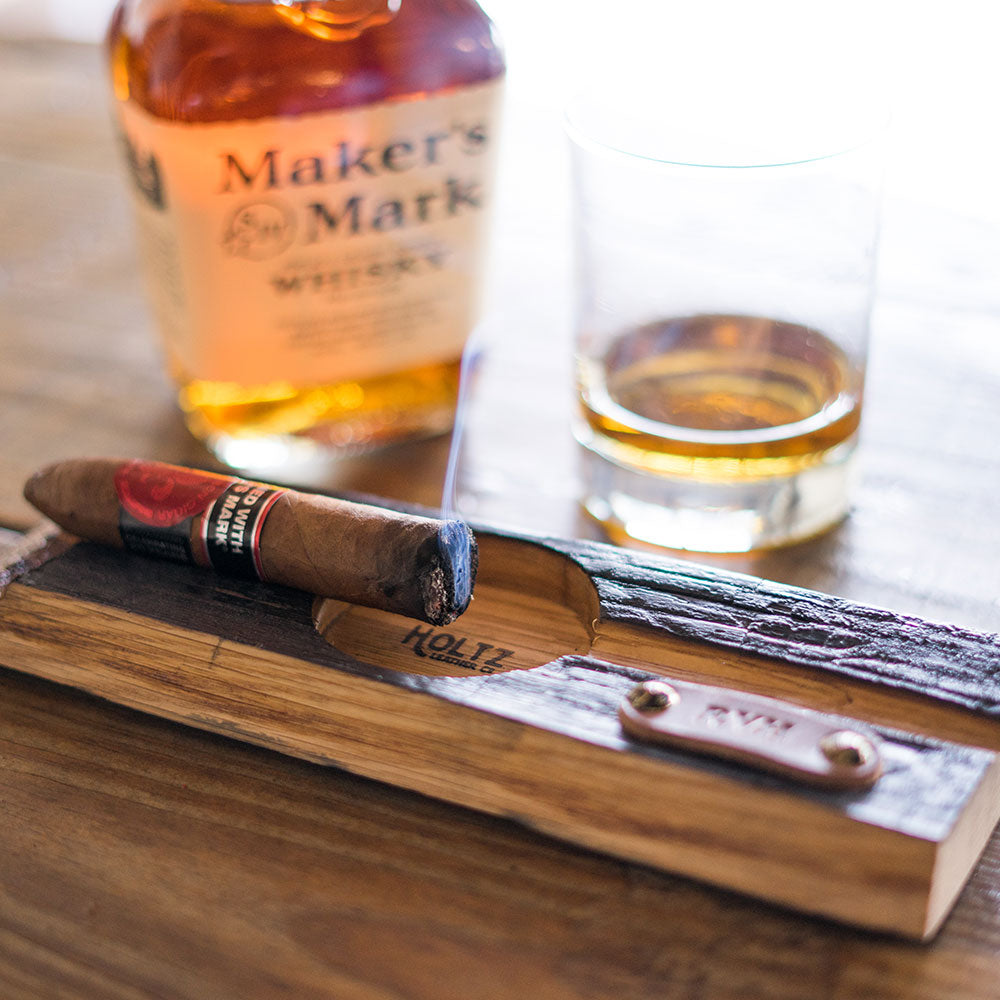 The Cuban Personalized Tennessee Whiskey Barrel Cigar Holder with Ashtray