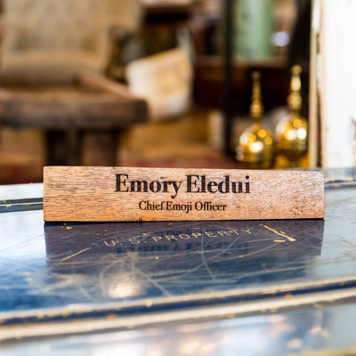 Personalized Whiskey Barrel Executive Desk Name Plate Sign With Title