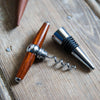 The Vino Personalized Hand Turned Wine Bottle Stopper Corkscrew & Leather Sleeve