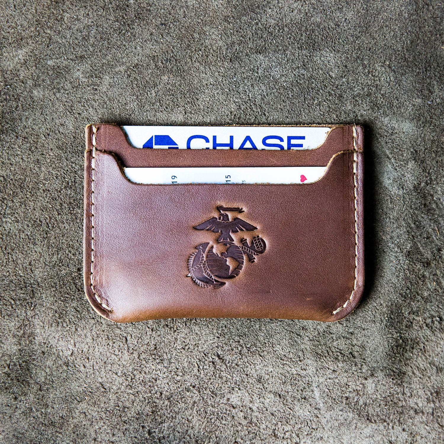 The Officially Licensed Marine Corps Bradford Front Pocket Double Sleeve Fine Leather Wallet