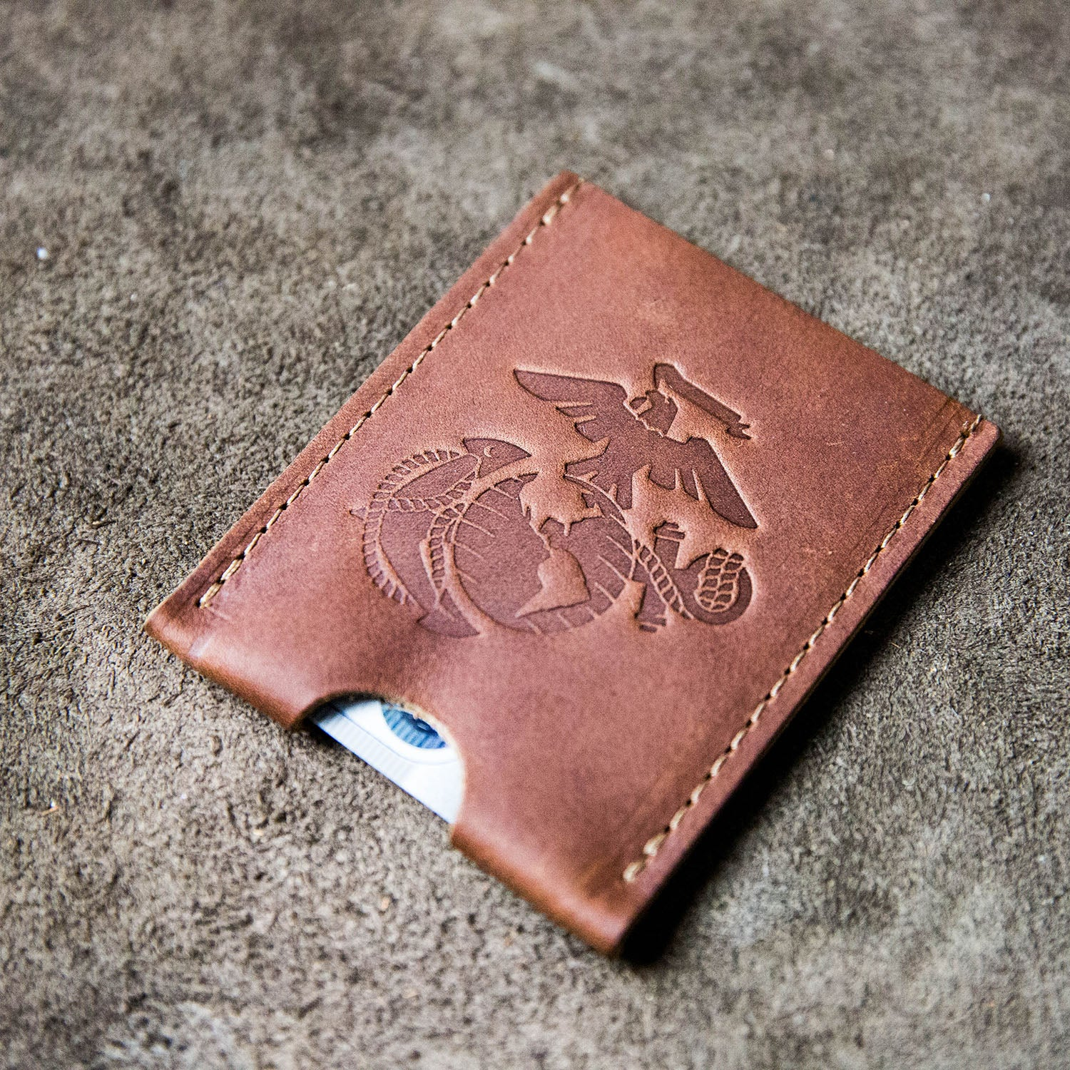 The Officially Licensed Marine Corps Jefferson Fine Leather Card Holder Wallet